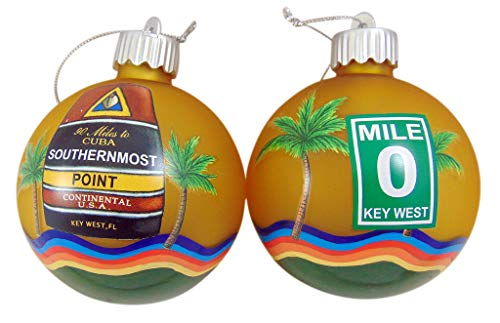 Key West Southernmost and Mile 0 Christmas Bulb Ornament Pack Christmas Tree Decoration, Set of 2
