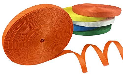 Gurt, Polyester, Meterware, für kleine Ladung und leichte Handhabung – Widerstand 2 Tonnen – Breite 25 mm – Preis pro Rolle, 25 m, Orange