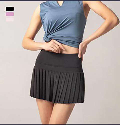 Falda de golf para mujer, falda de tenis con bolsillos, falda de bolsillo de bola, falda de tenis, falda de golf (negro, mediano)