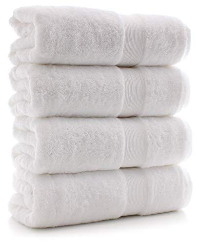 Chakir Turkish Linens Thick Channel 100% Turkish Cotton 4 Pack Bath Towel Set, White