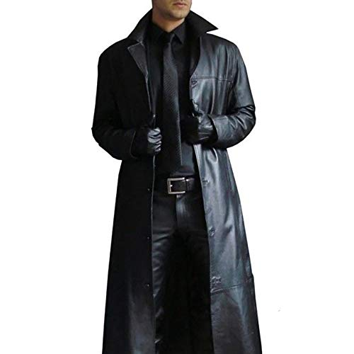 HYISHION Gabardina de Cuero para Hombre para Hombre Chaqueta Larga Abrigo de Cuero Vintage,Negro,S