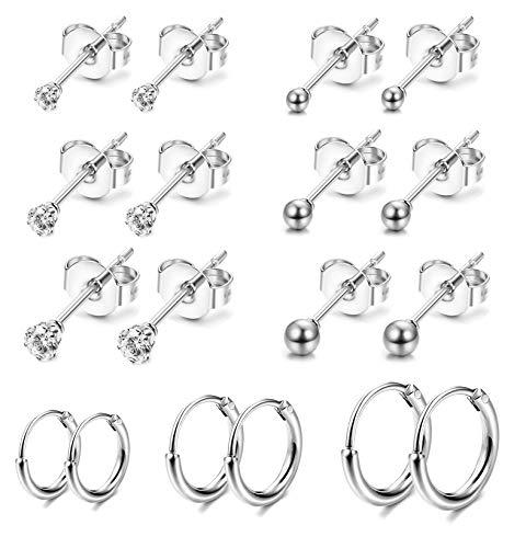 Jstyle 9Pairs Stainless Steel Tiny Stud Earrings for Women Girls Endless Hoop Earrings CZ Ball Earrings Set Silver Tone
