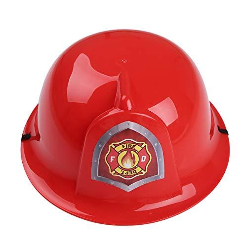 iEFiEL Kinder Helm Bauhelm Feuerwehrmann/Polizei/Ingenieur Hut Schutzhelm Für Halloween Fasching Party Cosplay Spielzeug Rot Einheitsgröße