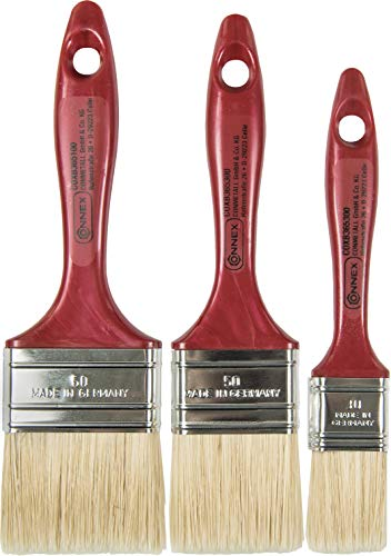 Connex Pinsel-Set 3-teilig - Für wasserbasierte & lösemittelhaltige Farben - Drei Flachpinsel mit 30 - 60 mm Breite  - Helle Kunststoffborsten - Borstenstärke 6 / Malerpinsel / COXB365100