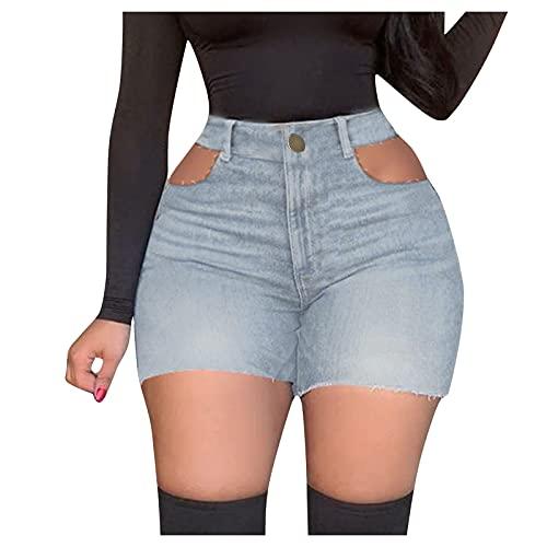 YANFANG Pantalones Vaqueros Rasgados con Borlas Deshilachadas,Pantalones Cortos Verano Mujer Casual Alta Cintura EláStica CordóN Shorts Holgados De Pierna Ancha,Azul Claro,XL