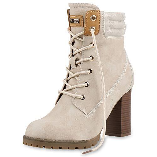 SCARPE VITA Damen Stiefeletten Leicht Gefütterte Schnürstiefeletten Schuhe 165817 Creme Metallic Leicht Gefüttert 39