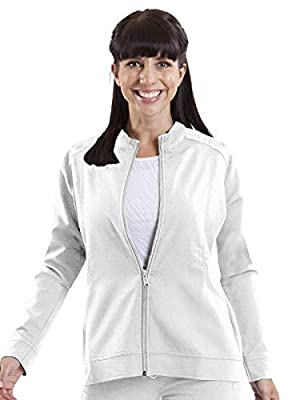 healing hands 5038 Women's Dakota Mandarin Collar Scrub Jacket White XS