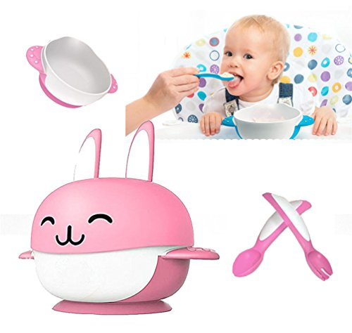 Suzzo Rabbit Sucker Feeding Dish Baby Sucker Bowl With Spoon Fork Baby Food Tableware Kids Training Dishes Food Container Pink