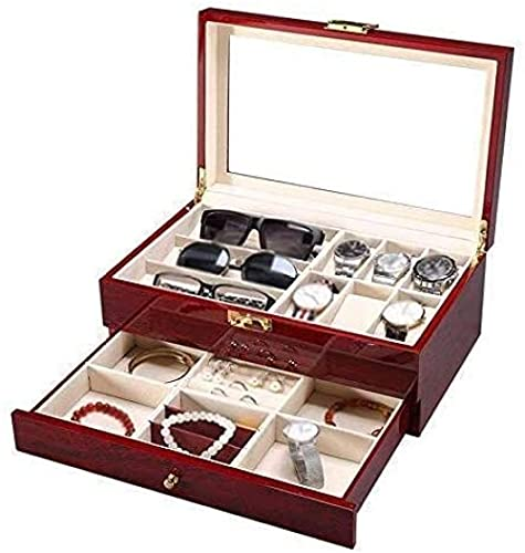 Caja de reloj de 2 capas de joyería colección de acabado caja de madera 6 cojines desmontables y cubierta de vidrio