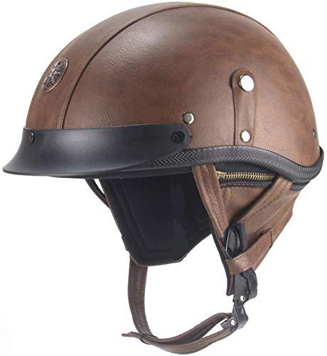 Vintage Motorcycle Leather Half Helmet, Modeling Retro Open-Face Helmet for Men and Women Bike Cruiser Chopper Moped Scooter ATV Helmet DOT Certified (57-62cm)