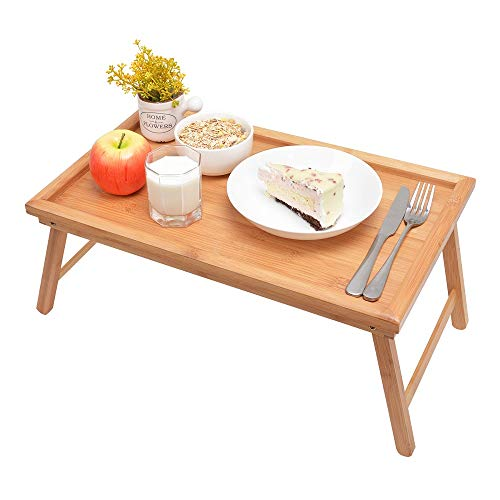 Zhuoyue Bamboo Bed Tray with Folding Legs, Lap Tray Breakfast Tray Great for Breakfast in Bed or...