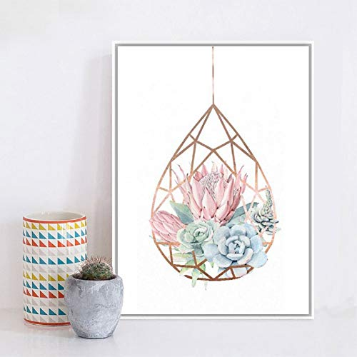 GUDOJK muurschildering op canvas, motief: Terrarium Rose Succulente Pastello Wall Art Canvas Pittura Cactus Picture Home Decor 70x100cm(28x40inch)