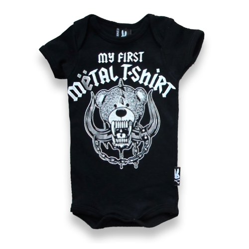 Six Bunnies My First Metal Shirt Babygrow - Noir - Nouveau-né