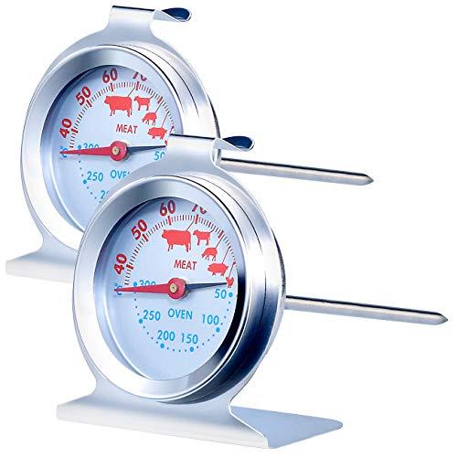 Rosenstein & Söhne Bratofenthermometer: 2er-Set 3in1 XL Braten- &Ofen-Thermometer für Gar-& Backofentemperatur (Backofenthermometer Silit)