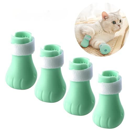 WZYYYDS Botas protectoras ajustables de la pata del gato para el lavado del baño de silicona suave anti-arañazos zapatos gato pata cubierta pie cubierta (verde)