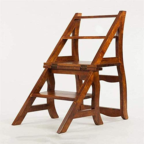Suge Wooden Ladder Stool Solid Wood Chair Ladder European Creative Living Room Home Multi-Function Folding Chair Iibrary ladders/Step Stool (Color : -, Size : -)