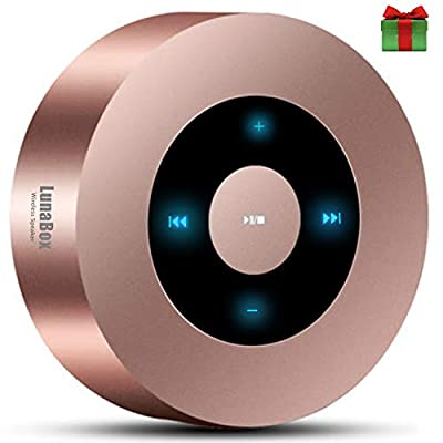 LunaBox Wireless Bluetooth speaker, Indoor/outdoor Subwoofer with HD Sound and Bass, Dual Driver Speakerphone, Microphone, Hands-free Calling and TF Card Slot (Rose Gold) from LunaBox Tech