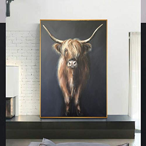 MMLUCK Decorative Paintings Art Highland Cow Animal Picture Canvas Printed Painting Wall Art for Living Room n Decorative Pictures Without frameChristmas Present -40x60cm