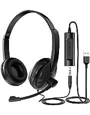 ヘッドセット USB ノイズキャンセリング ヘッドセット マイク付き USB & 3.5mm接続両用 pc用ヘッドセット 超軽量 テレワーク web会議用 ヘッドセット 有線 ビジネス 在宅勤務 パソコン/携帯/iPad/PS3/PS4対応