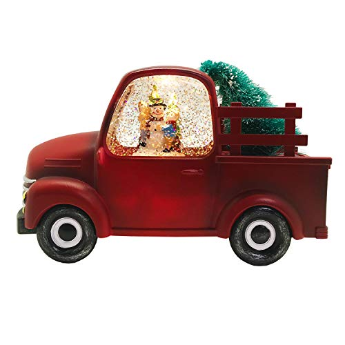 Lightahead Musical Light up Swirling Glitter Pickup Truck with Snowman and Children Inside Figurine, Warm White LED Light and 8 Melodies