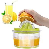 izsuzee spremiagrumi manuale, spremi agrumi professionali in plastica 4 in 1, spremiagrumi a mano, spremi pressa limone arance limoni agrumi con 2 alesatori e contenitore peeler di 400ml misurazione