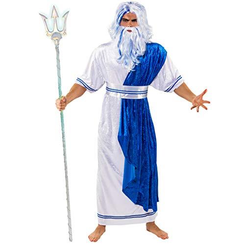 NET TOYS Traje de Poseidón para Hombre | Blanco-Azul en Talla ES 46/48 (S/M) | Original Disfraz de Neptuno para Hombre | Adecuado para carnavales y Noches temáticas