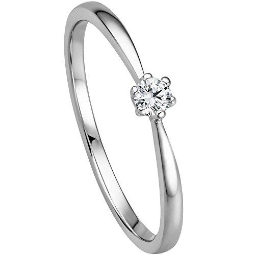 Verlobungsring 585 Weißgold mit 0,09 ct w/si (Diamant, 54 (17.2))