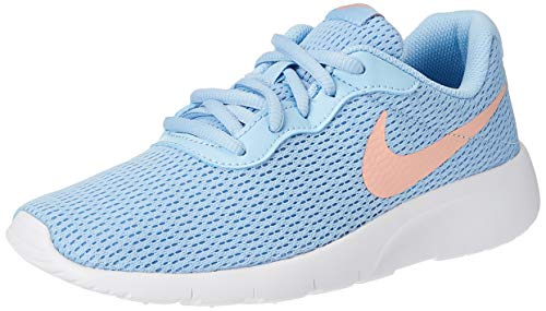 Nike Girl's Tanjun Shoe Psychic Blue/Bleached Coral/White Size 5.5 M US
