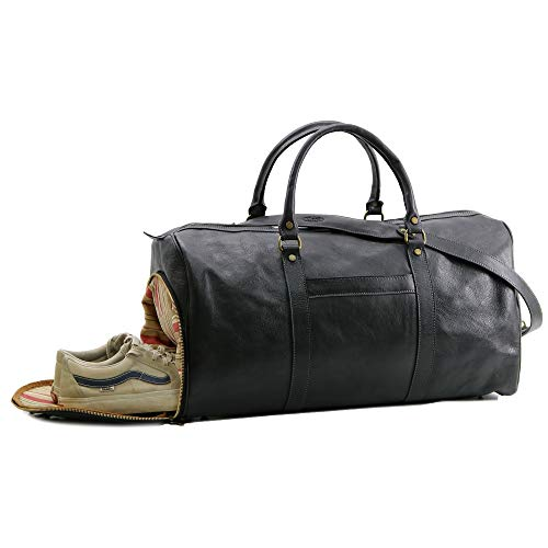 Floto Lugano Leather Weekender Duffle Travel Bag with Shoe Compartment (Black)