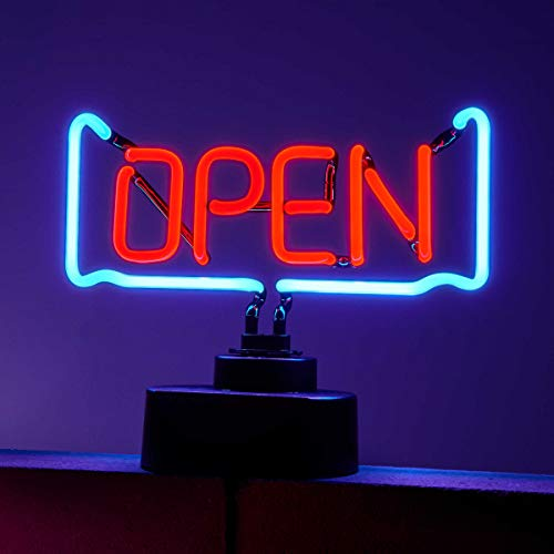 BUTLERS Open Neon-Leuchte, 25 x 8 x 37 cm - Leuchtschild aus Glas und Kunststoff als Dekolampe - Bunte Stimmungsleuchte