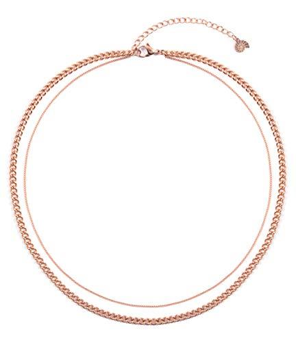 Happiness Boutique Collana Multifilo in Oro Rosa | Collana Doppio Filo in Acciaio Inossidabile