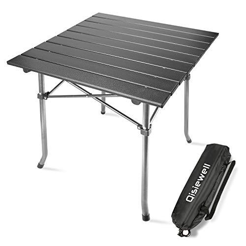 Qisiewell Aluminium Klapptisch Campingtisch Multifunktionstisch Camping Wandern Reisen Picknick Sonstige Indoor-Outdoor Aktivitaten (52 x 52 x 49 cm)