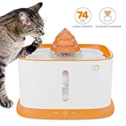 piccpet Pet Fountain Dispenser, 2.2L/74.4oz Healthy and Hygienic Drinking Automatic Water Fountain, Super Quiet Pets Auto Water Bowl with Filter, 2 Water Outlets for Cats, Dogs, Birds