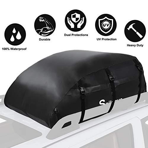 Sailnovo Dachbox, 20 Kubikfuß Faltbare Dachkoffer Aufbewahrungsbox Wasserdicht Dachtasche Dachgepäckträger Tasche Aufbewahrungsbox für Reisen und Gepäcktransport, Autos, Vans, SUVs, Schwarz