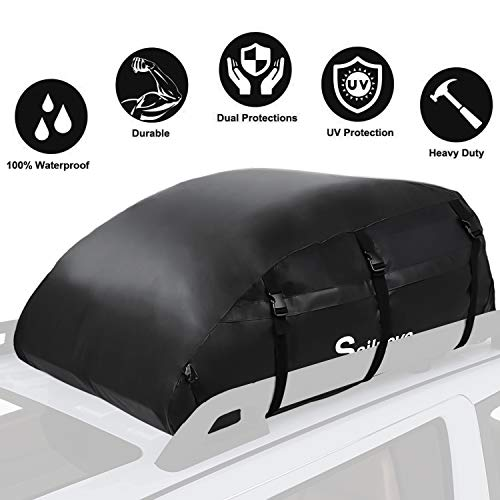 Sailnovo Car Roof Bag, Folding Roof Top Box Storage Bag Waterproof Roofing Rack Bag for Travel and Luggage Transport, Cars, Vans, SUVs, Black (560L/1000D)