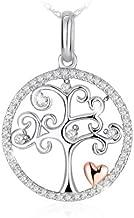 J.Rosée Colgante Mujer, Collar Plata de Ley 925 Brillante Circonita Árbol de la Fortuna Corazón Rosa Cadena 45cm-50cm con Hermosa Caja