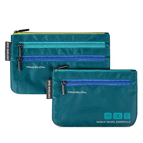 Travelon World Travel Essentials Set Of 2 Currency and Passport Organizers, Peacock Teal