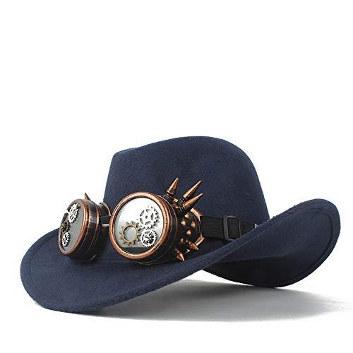 ZHOUYANJUN mode heren dames wollen hoed westerse jeanshut met transmissiebril kerk hoed rolll up fascinator hoed maat 56 - 58 cm 56-58 Donkerblauw