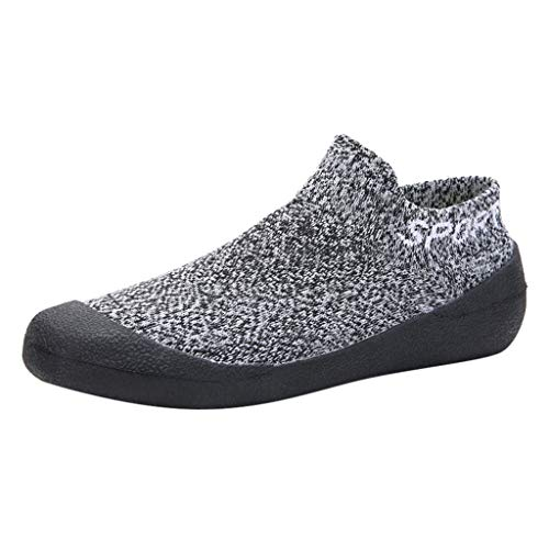 HDUFGJ Herren Damen Strecken Fliegendes Weben Sneakers Slip-On weiche Sohle Sockenschuhe barfußschuhe Yoga-Schuhe Keilschuhe Clogs Pantoletten Segelschuhe Slipper Fitnessschuhe Flache39 EU(Grau)