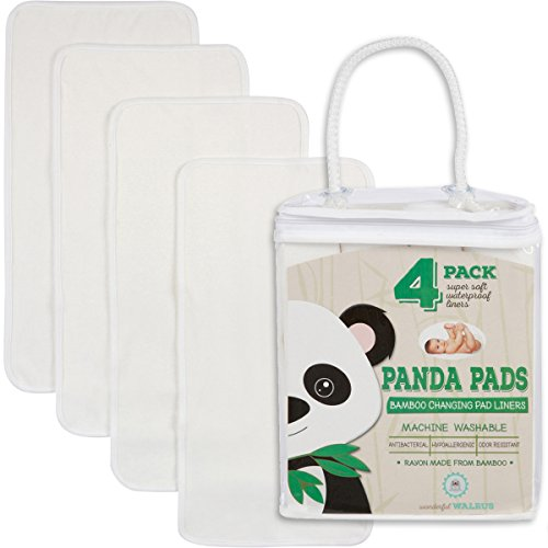 "Changing Pad Liners Bamboo 4-Pack – Softer, Thicker & Cute 3 Layer 14"" x 27"" Design. Panda Pads - A Waterproof Mat to Cover Your Diaper Changing Table, Diaper Changing Pad or Mattress Pad."
