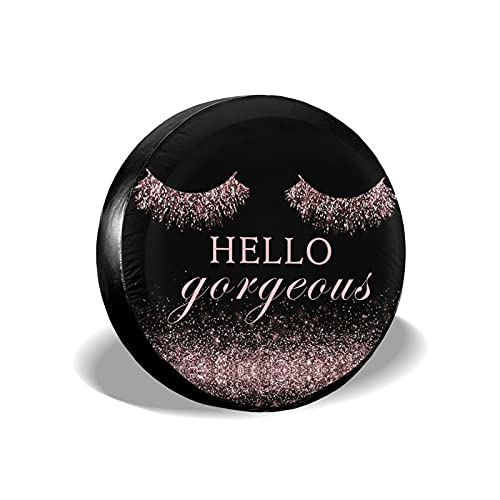 Hello Gorgeous Glittering Pink Eyelash Tire Covers, Spare Tire Covers, Waterproof UV Protection Wheel Protectors for Women Girls, Durable Tire Wheel Covers for RV SUV Truck Camper Trailer Accessories