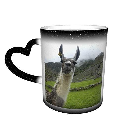 Taza de café mágica que cambia la taza de café, con diseño de animal llama, personalizable, de cerámica, sensible al calor, para regalo, té, café