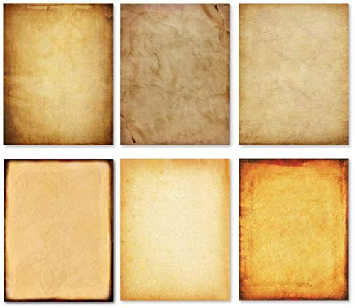 Stationary Paper - Old Fashion Aged Classic Antique & Vintage Assorted Design � Double-side Parchment Paper - Perfect for Certificate, Crafting, Invitations & other Art Projects - 8.5x11 Inches (60)