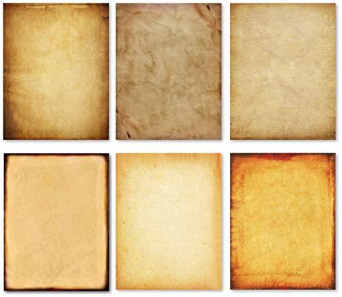 60 Blatt Vintage Briefpapier, doppelseitig Druckerpapier 120GSM, 6 verschiedene Muster in 1 Pack antikem Papier Retro Pergament Design, perfekt für Papierdekorationen Einladung Crafting 8,5 x 11 Zoll