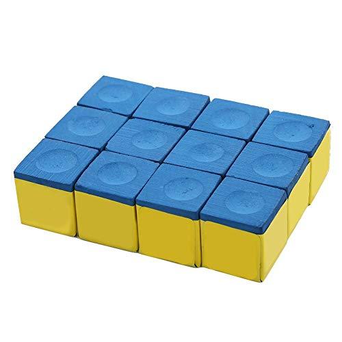 VGEBY1 12 Stücke Pool Queue Würfel, Calciumcarbonat rutschfeste Billard Pool Queue TIPP Kreide Snooker Kreide für Billard Snooker Pool(Blau (fettig))