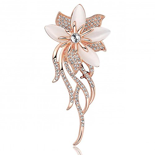 Merdia Created Cats Eye Brooches for Women Classy Bouquet Bridal Brooch Pin 12g
