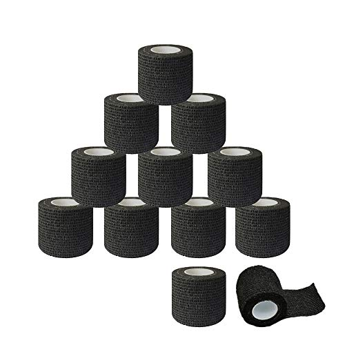 12Pcs Tattoo Grip Tape, Tazay 2'x 5 Yards Tattoo Grip Cover Wrap Disposable Cohesive Self Adhesive Wrap, Black Elastic Bandage Tape Handle Grip Tube for Tattoo Machine Grip Accessories