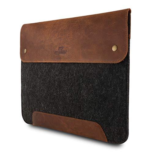 MegaGear Laptoptasche für 33,8 cm (13,3 Zoll) MacBook (aus echtem Leder & Fleece) Braun