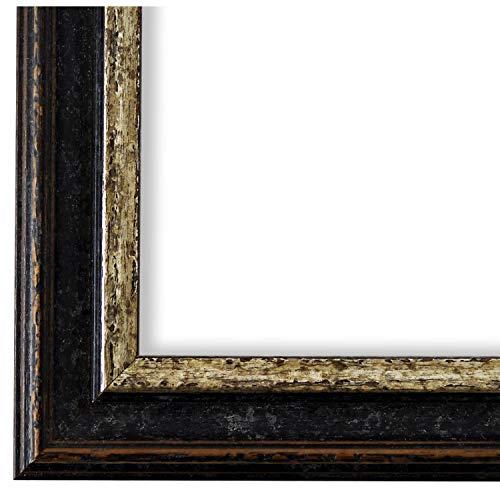 Online Galerie Bingold Bilderrahmen Schwarz Silber 50x60-50 x 60 cm - Antik, Barock, Vintage - Alle Größen - handgefertigt - LR - Forli 3,7