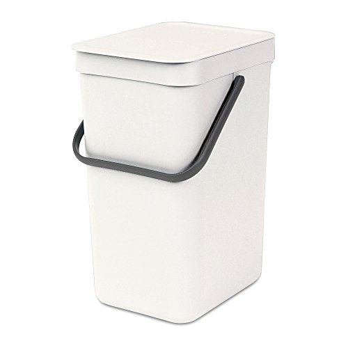 Brabantia Sort e Go Pattumiera per Raccolta Differenziata, Plastica, Bianco, 12 L
